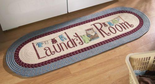 Vintage Braided Runner Rug Laundry Room Country Throw Mat Floor