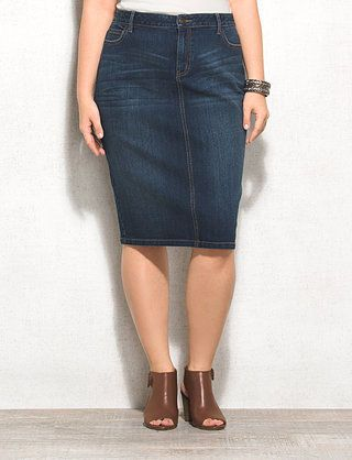 c135091ee5 WESTPORT 1962 Plus Size Denim Pencil Skirt
