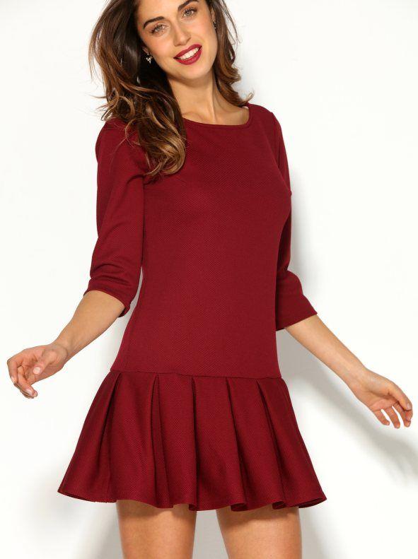 c59a173e6b Vestido mujer manga 3 4 con falda tableada en puño elástico símil piqué