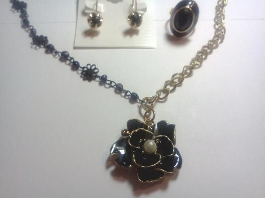 Black Enamel Rose Gold-Plated Necklace, Black Jet Earrings, & Black Faceted Stone Ring Jewelry Set