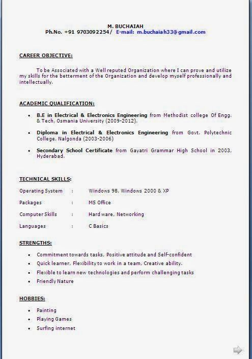 ca resume format Sample Template Example of Excellent Curriculum - indian resume format for freshers