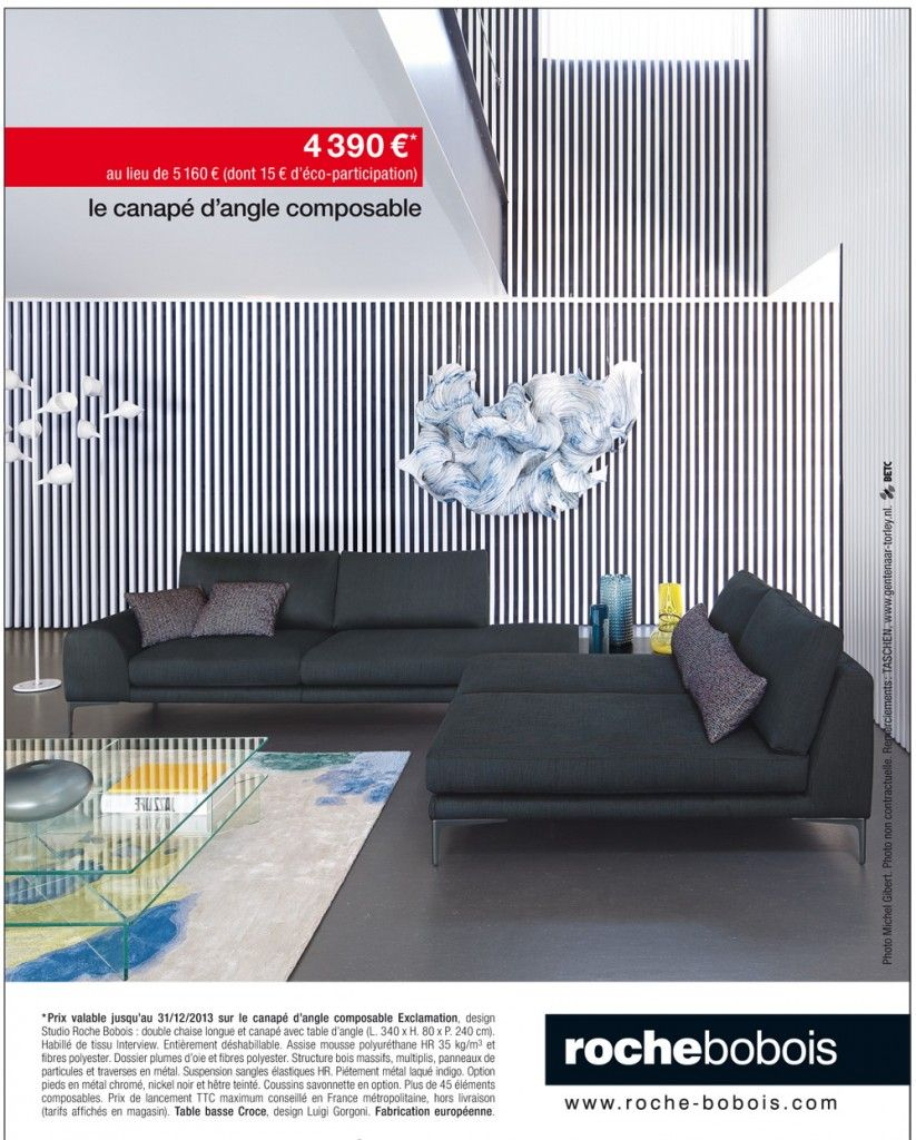 canap d 39 angle composable exclamation chez roche bobois. Black Bedroom Furniture Sets. Home Design Ideas