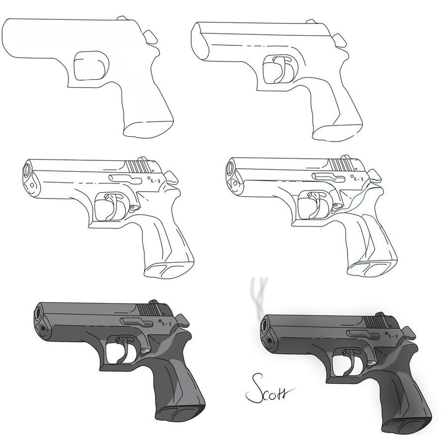 How to draw a gun 58