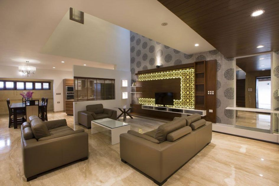 Flooring Ideas Brown Marble Flooring For Living Room With Brown Leather Sofa Set With Glass Top Whi Living Room Design Modern Living Room Designs Marble Floor