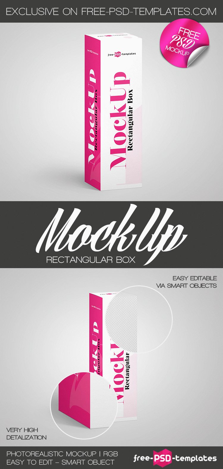 Download Free Rectangular Box Mock Up In Psd Free Psd Templates Box Mockup Psd Template Free Mockup Template