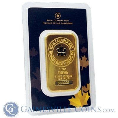 Royal Canadian Mint Rcm 1 Oz Gold Bar Gainesville Coins Gold Bar Mint Bar Gold Bars For Sale