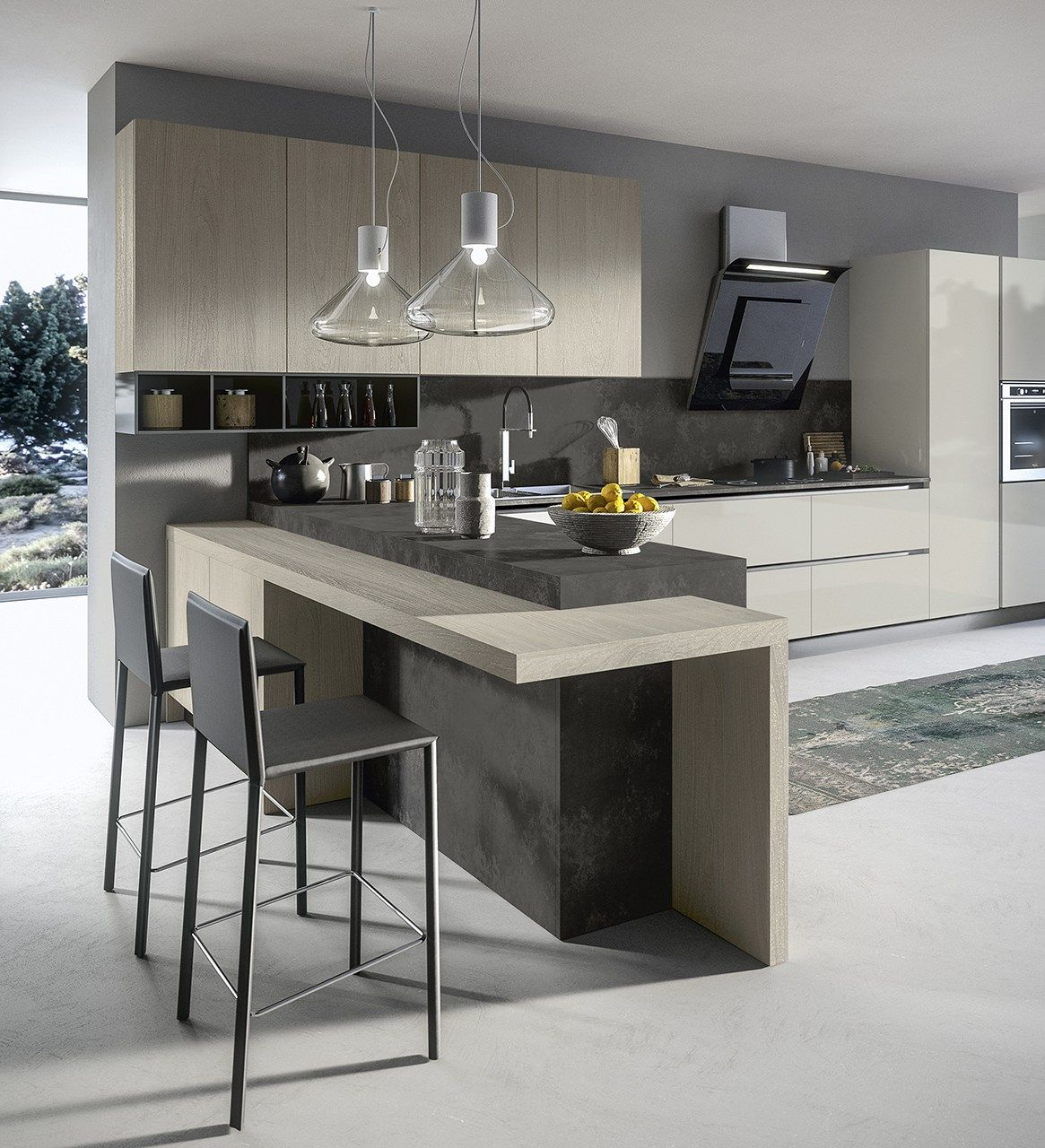 American style fitted kitchen with island with handles