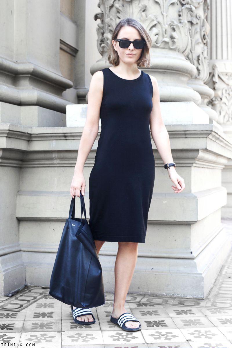 Black sandals gap - Trini Gap Black Midi Dress Celine Cabas Bag Adidas Duramo Slides