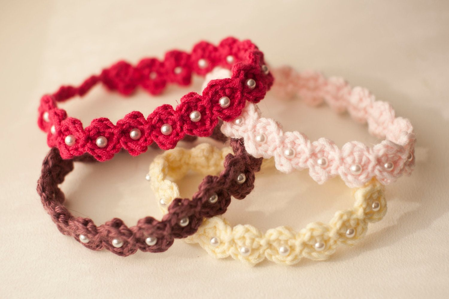 Crocheted Adjustable Beaded Baby Headband Pattern -- pdf. $3.50, via ...