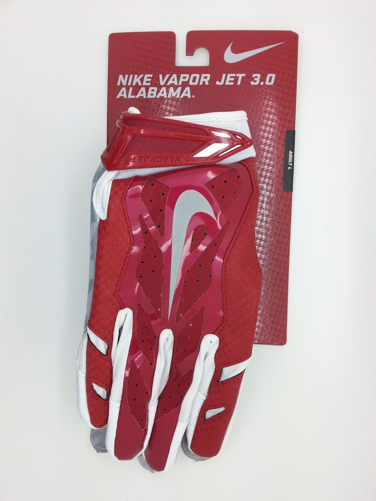 big sale 5dbec ce8b0 ALABAMA NIKE VAPOR JET 3.0 LOCK UP LOGO FOOTBALLGLOVES PAIR (ADULT LARGE)-- NEW  Nike