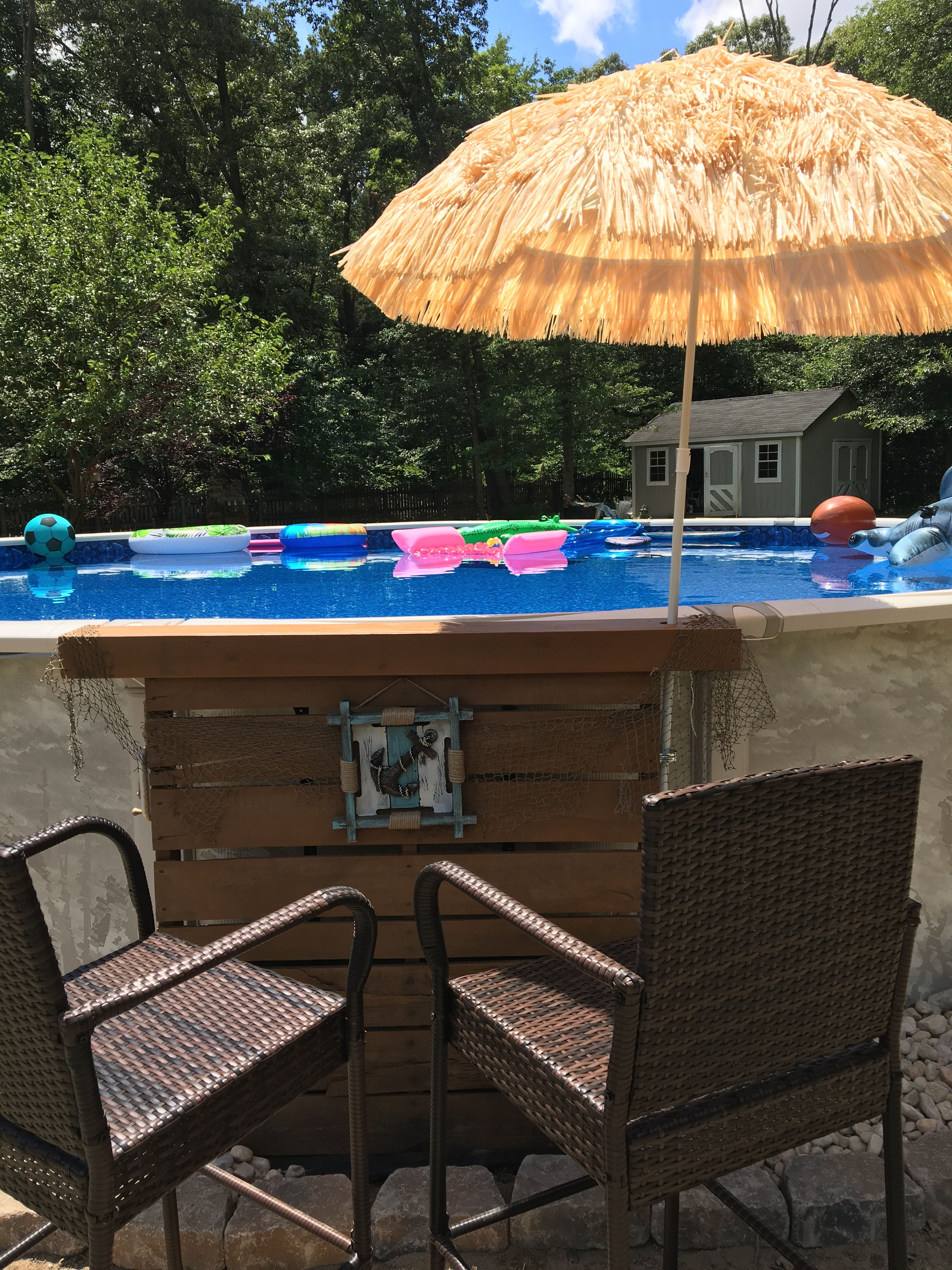 My pallet tiki bar pools pool party in 2019 pool bar - Above ground pool bar ...