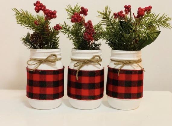 Red and Black Buffalo Plaid Mason Jars, Set of 3, Farmhouse Christmas Decor, Lumberjack Baby Shower, Christmas Decor -   19 diy christmas decorations dollar tree 2020 ideas