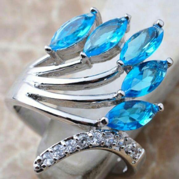 "Spotted while shopping on Poshmark: ""NEW 925 SILVER SKY BLUE SAPPHIRE, WHITE ZIRCON""! #poshmark #fashion #shopping #style #Jewelry"