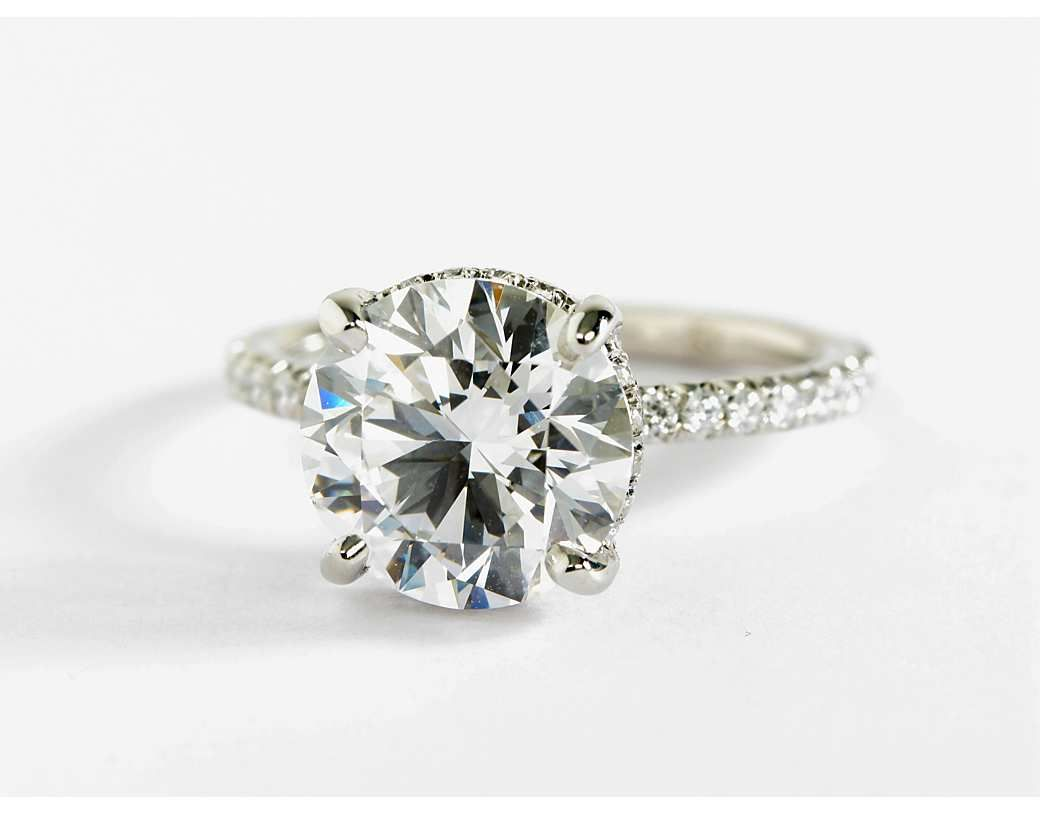 Studio petite french pavé crown diamond engagement ring in platinum