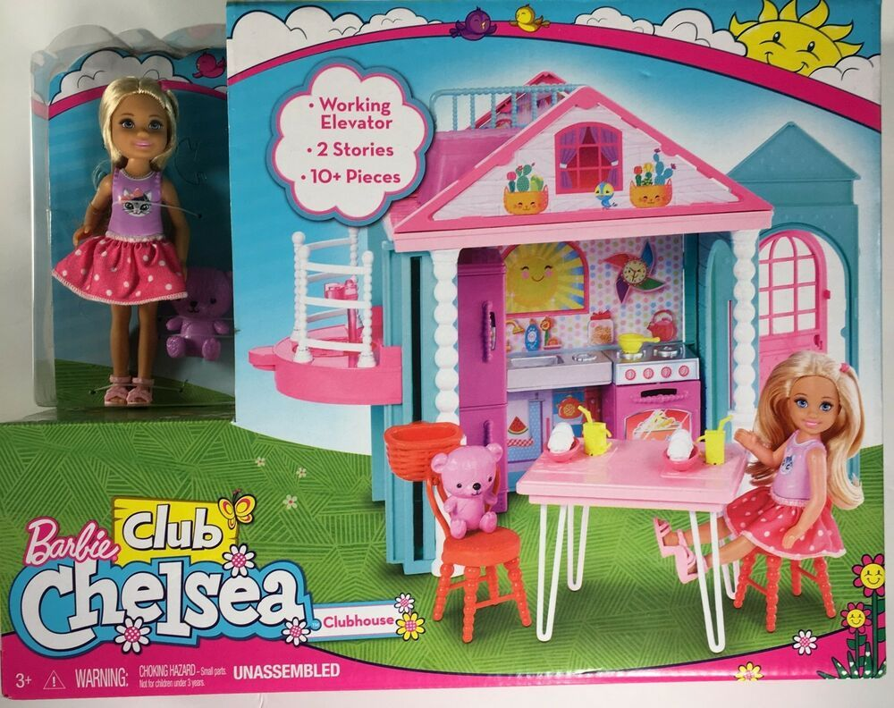 Barbie Playhouse Doll House DollHouse Chelsea Dolls Teddy Bear Set Girls Kids