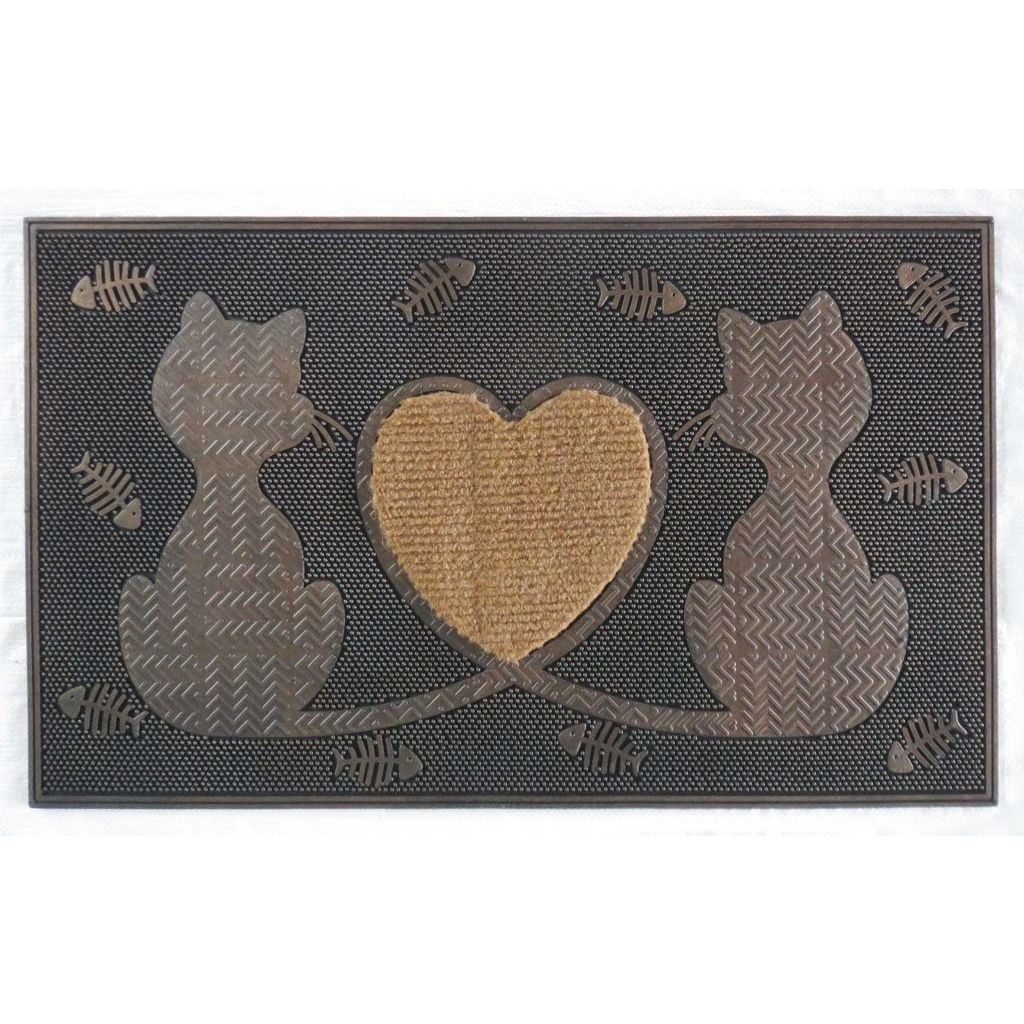 First Impression Rubber Twin Heart Cat Doormat Black Plastic