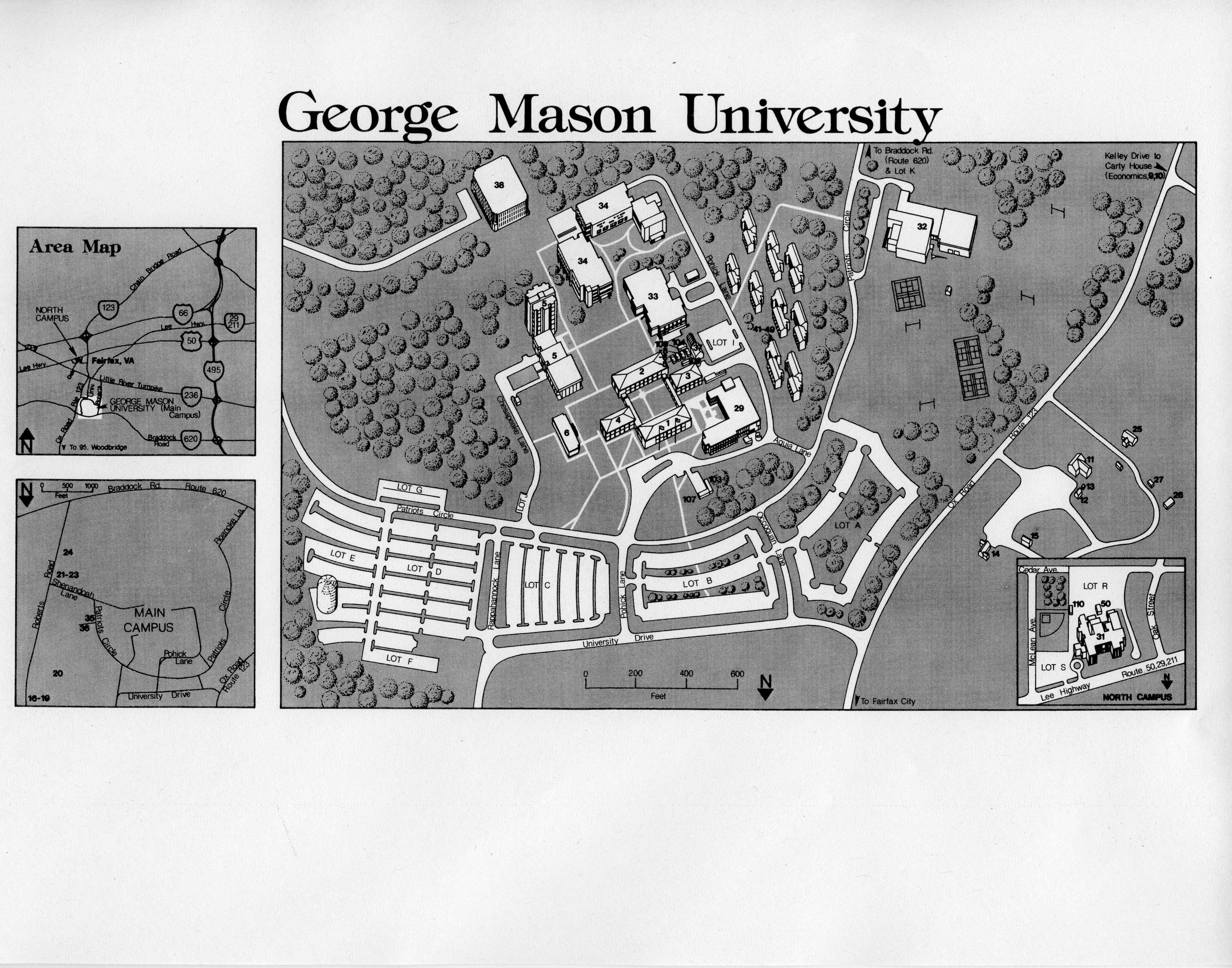 George Mason University, campus map, ca.1981. Copyright George Mason ...