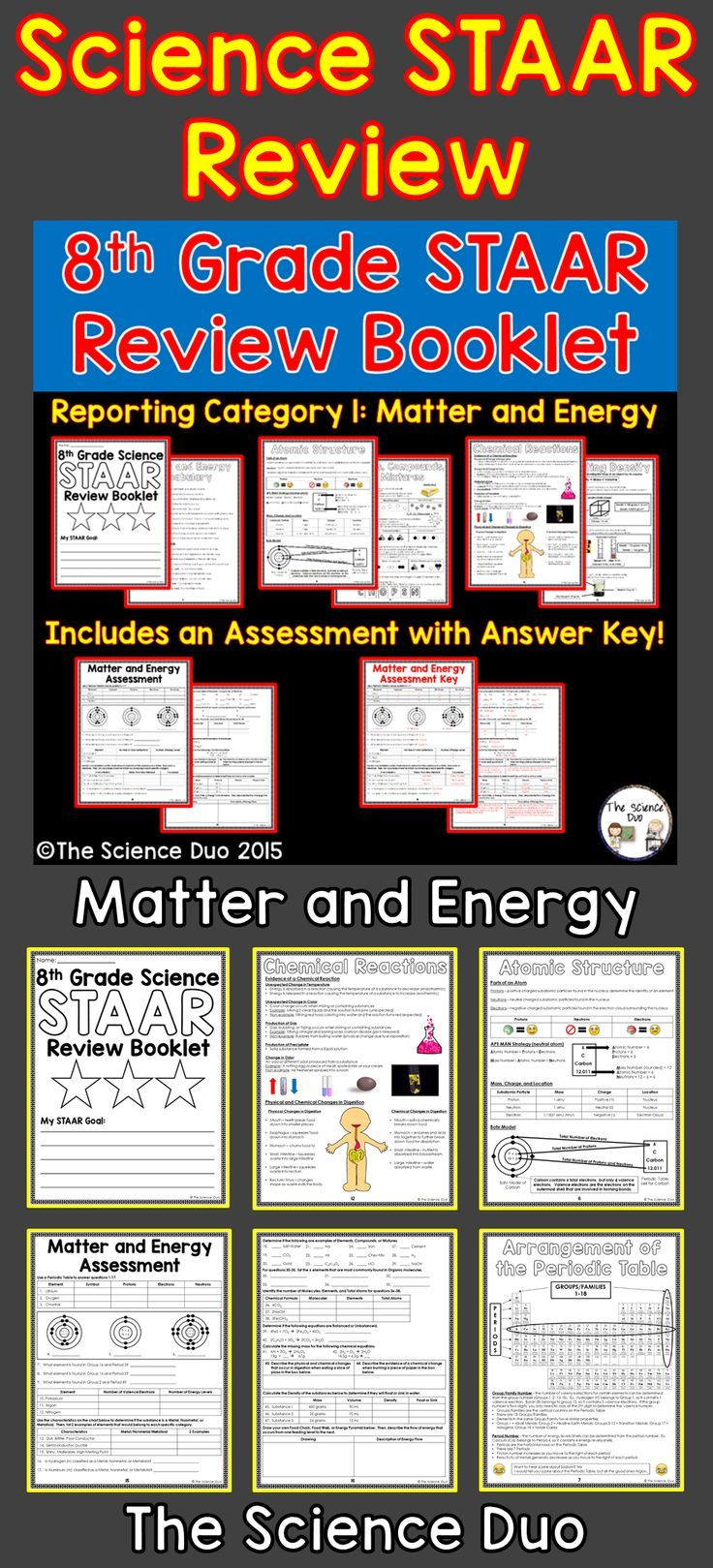 Staar Science Review Booklet Matter And Energy This Resource Covers Reporting Category 1 Matter And Ener Science Staar 8th Grade Science Science Staar Review