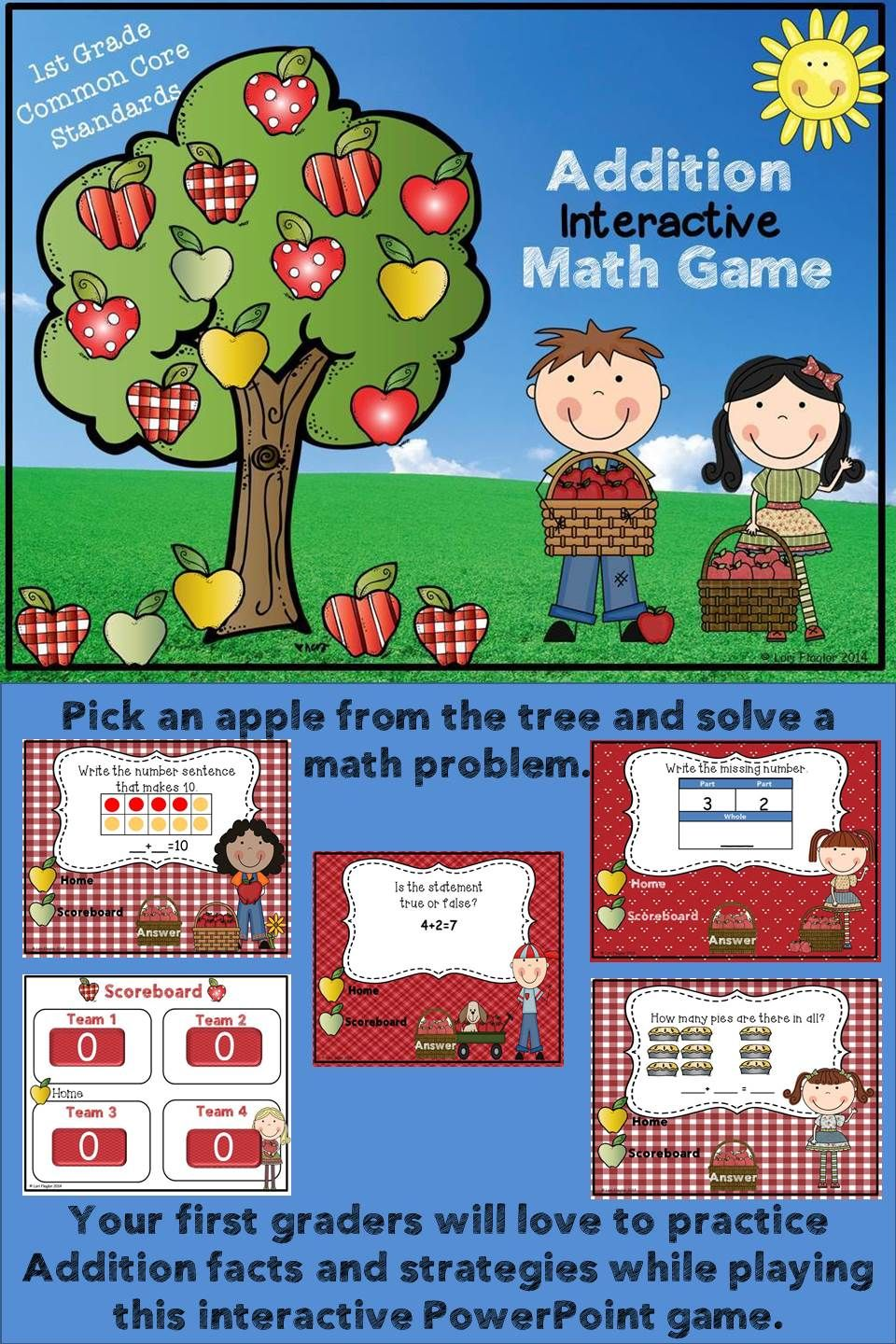 Addition Interactive PowerPoint Math Game First Grade Edition ...