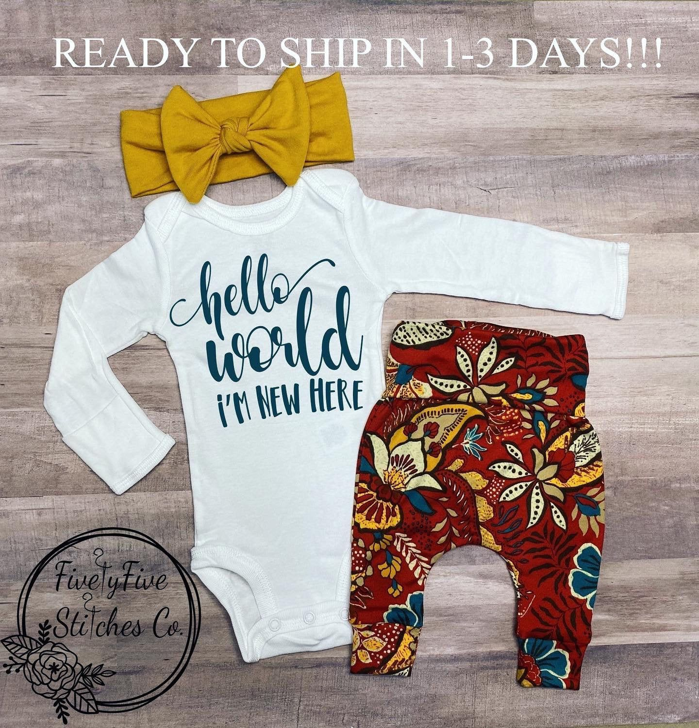Baby Girl Coming Home Outfit*Hello World I'm New Here*Going Home Outfit Girl*Baby Headband**Baby Girl Clothes*Take Home Outfit Girl*Baby*