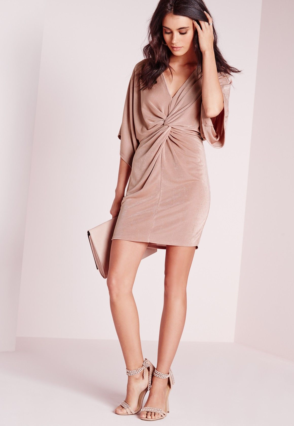Missguided - Slinky Kimono Mini Dress Rose | dresses | Pinterest