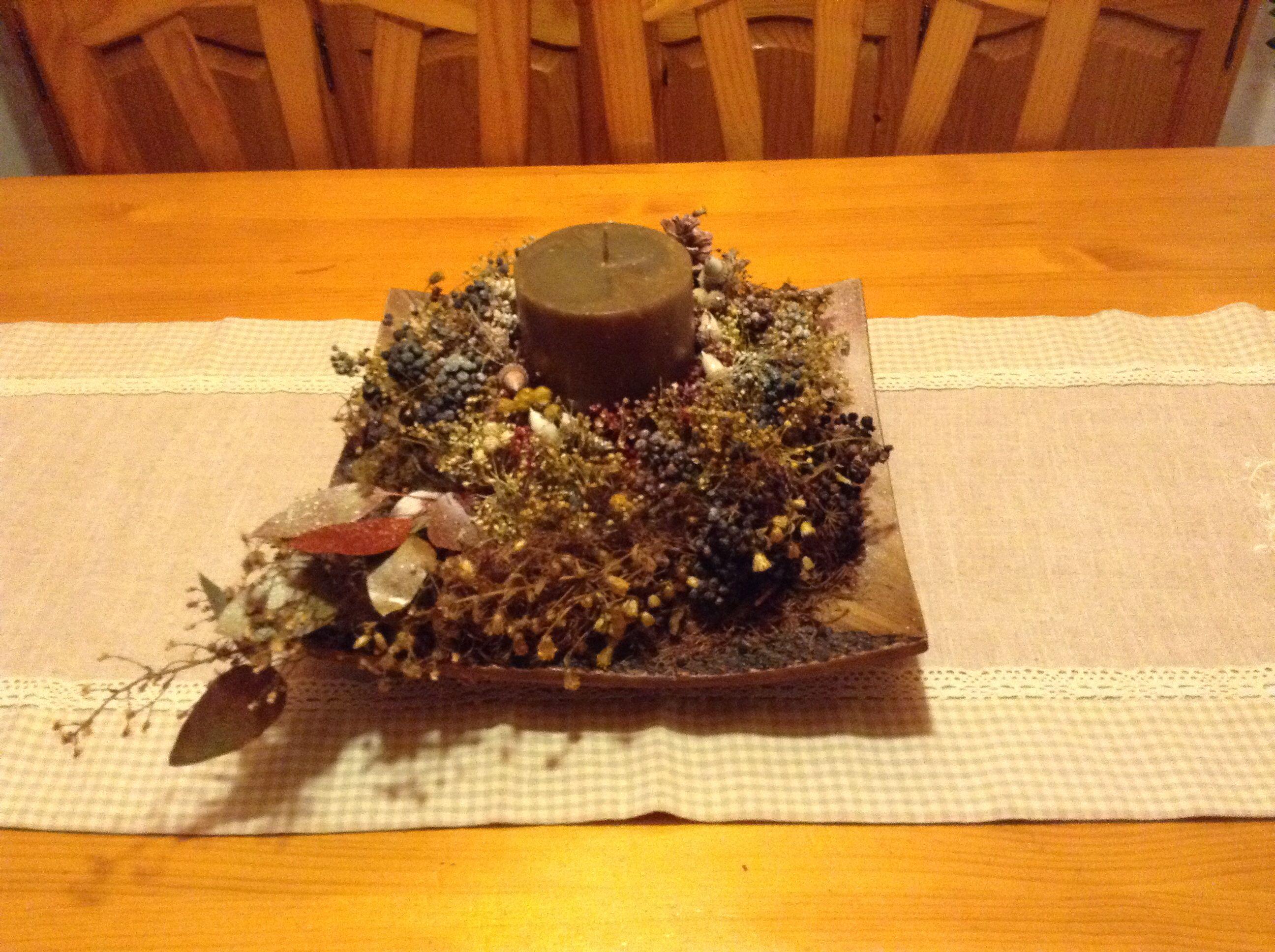 centro mesa flores secas y vela