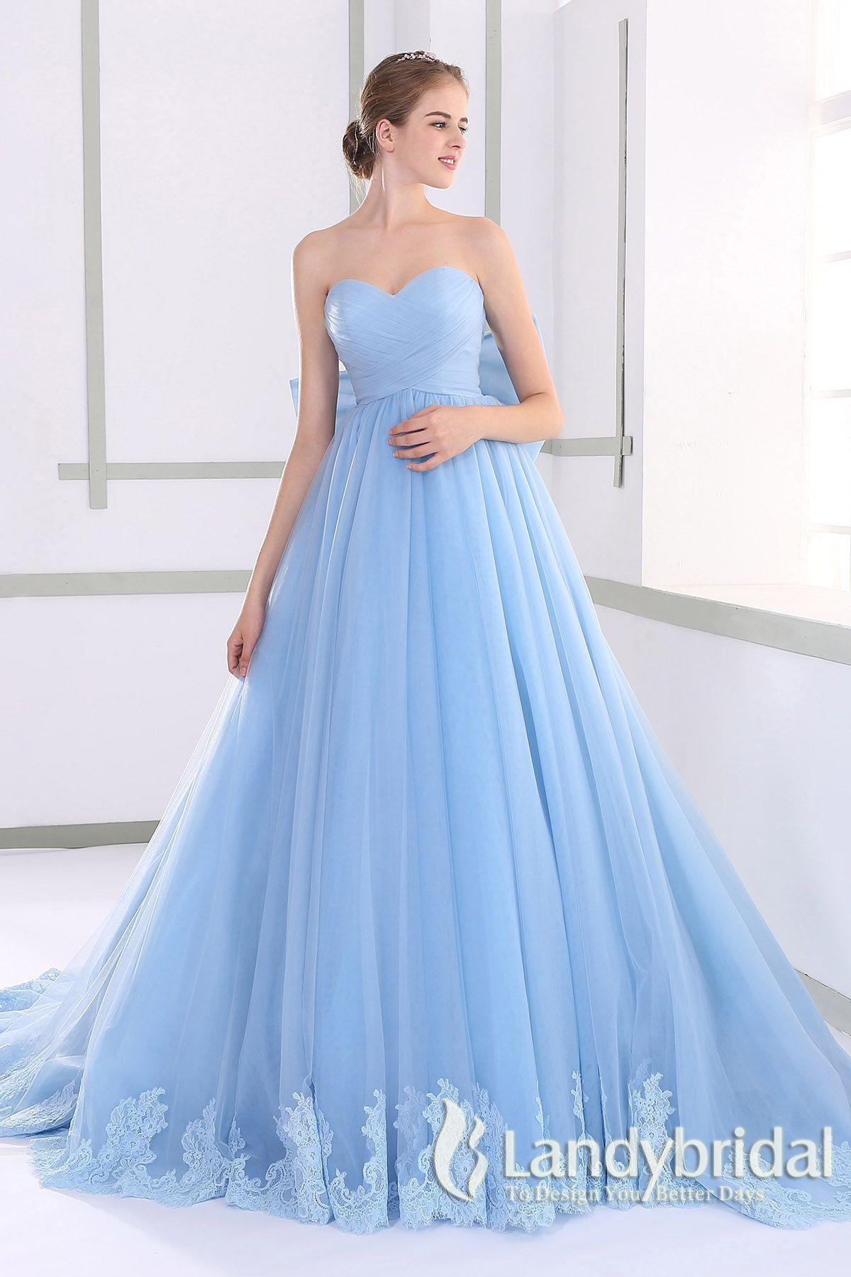 カラードレス プリンセス 取り外し式リボン ハートネック スカイブルー チュール JUL015008-sk