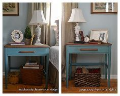 a tale of two nightstands, painted furniture, rustic furniture, Hers on the left his on the right They re not identical but very close And the paint color is the same The lighting made them look a little different in the photos