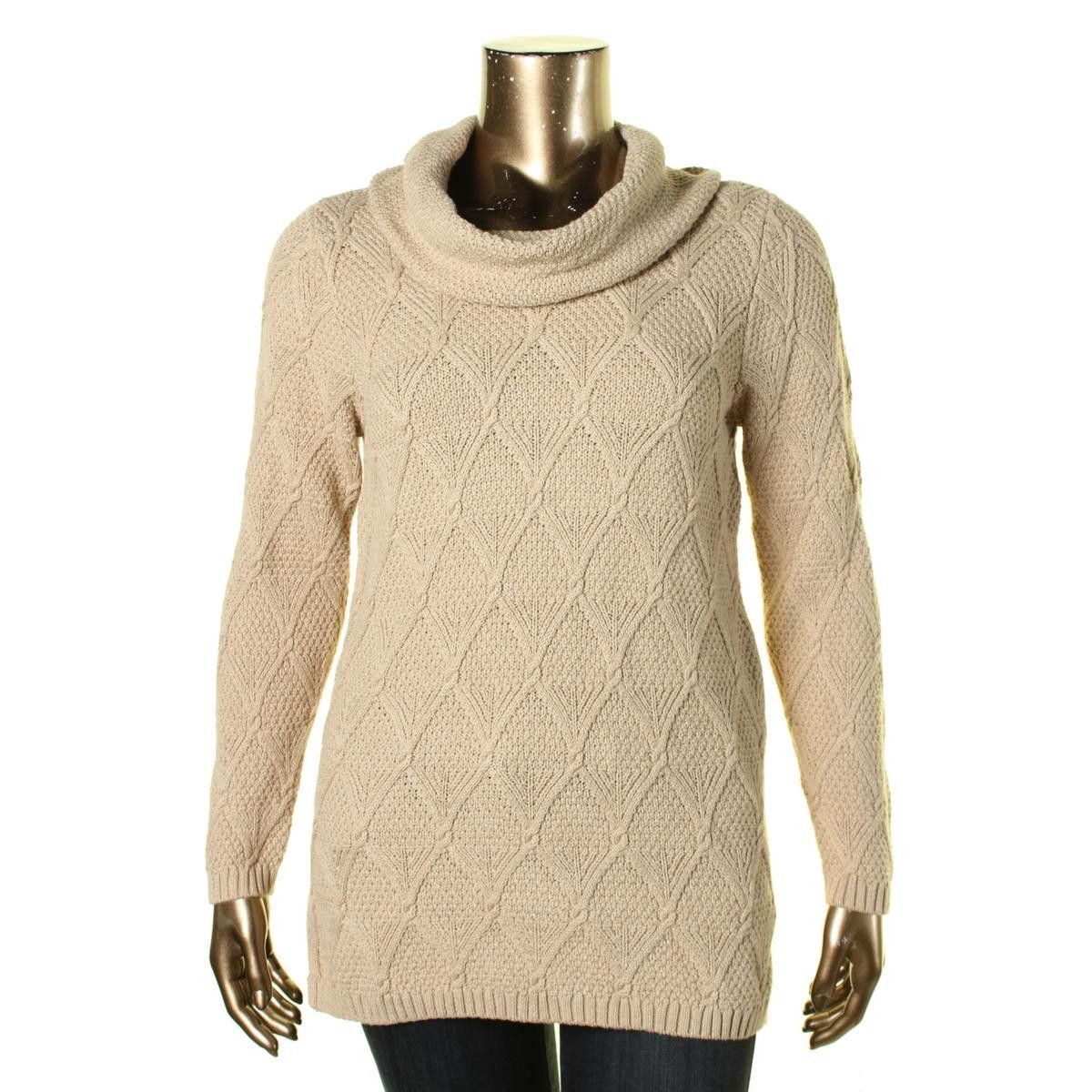Womens Cowl-Neck Cable-Knit Sweater | Products, Cable and Women's ...