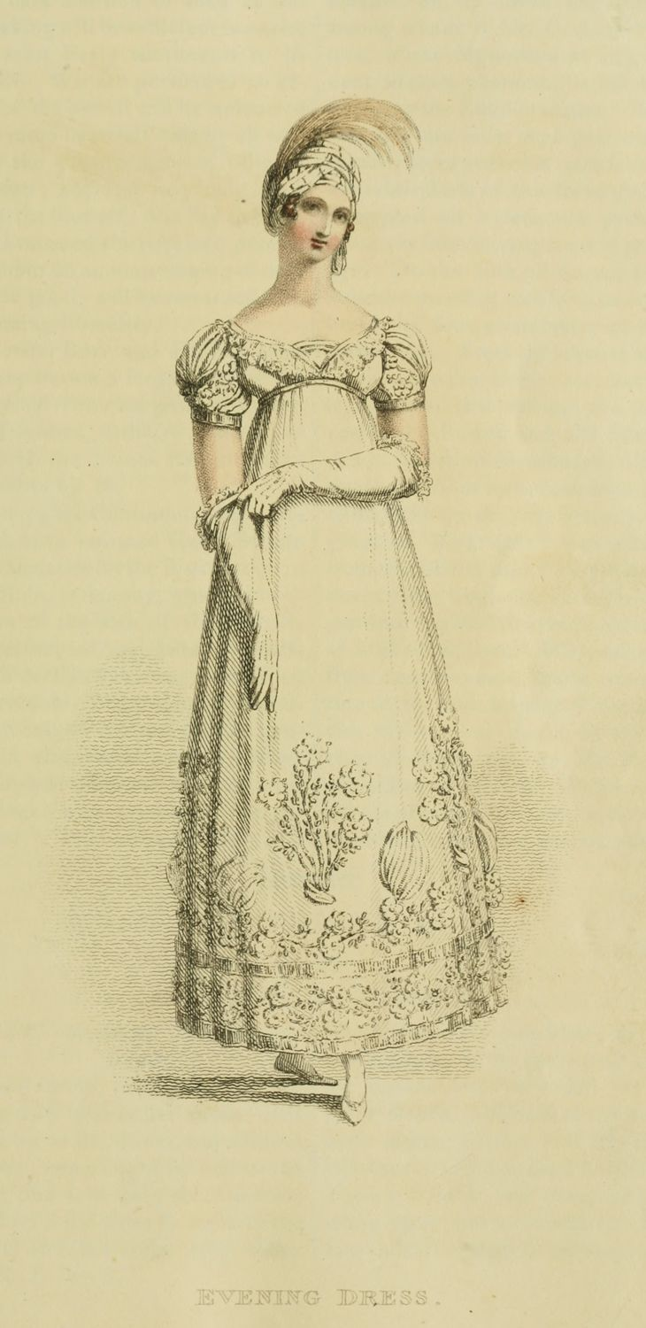 1816 - Ackermann's Repository Series2 Vol 1 - January Issue Evening Dress