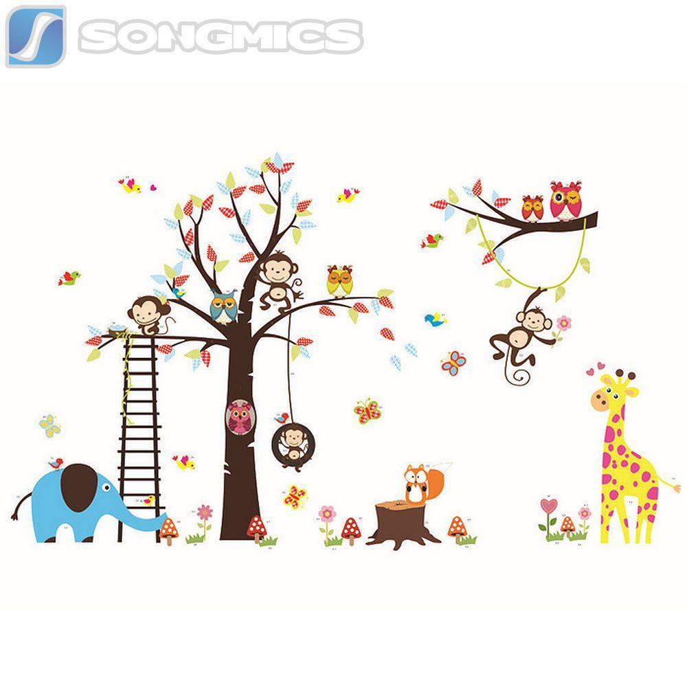 Wandtattoo Kinderzimmer Deko Wald Sticker Tiere Baum Affe ...