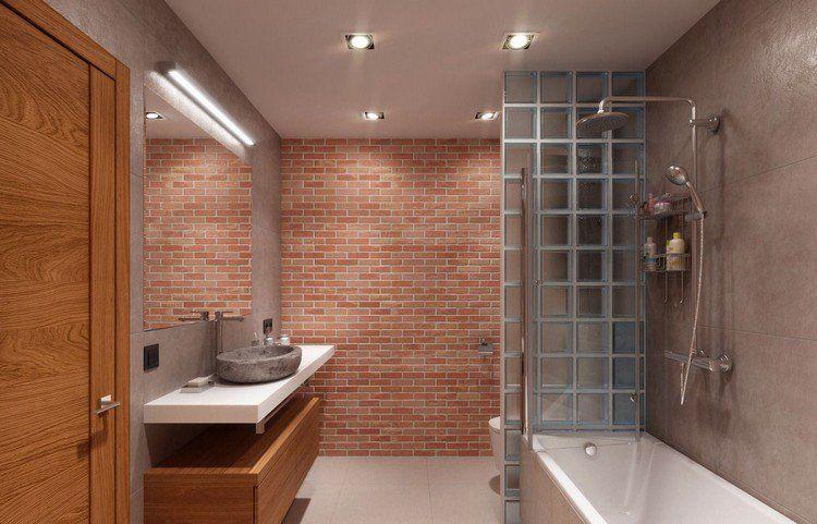 béton ciré salle de bain  brique de parement rouge, vasque en