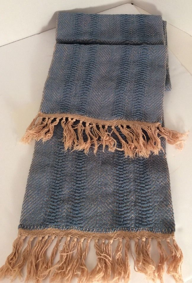 Vtg 100 Cotton Handwoven Table Runner Cornflower Blue Tan Coker Creek Rustic | eBay