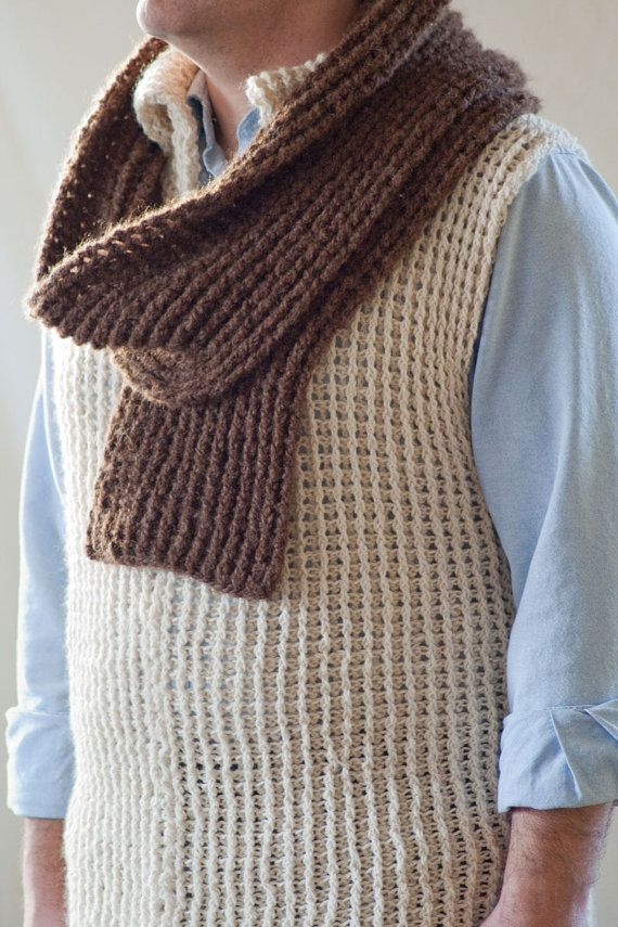 Crochet Pattern Mens Cable Style Vest And Scarf By