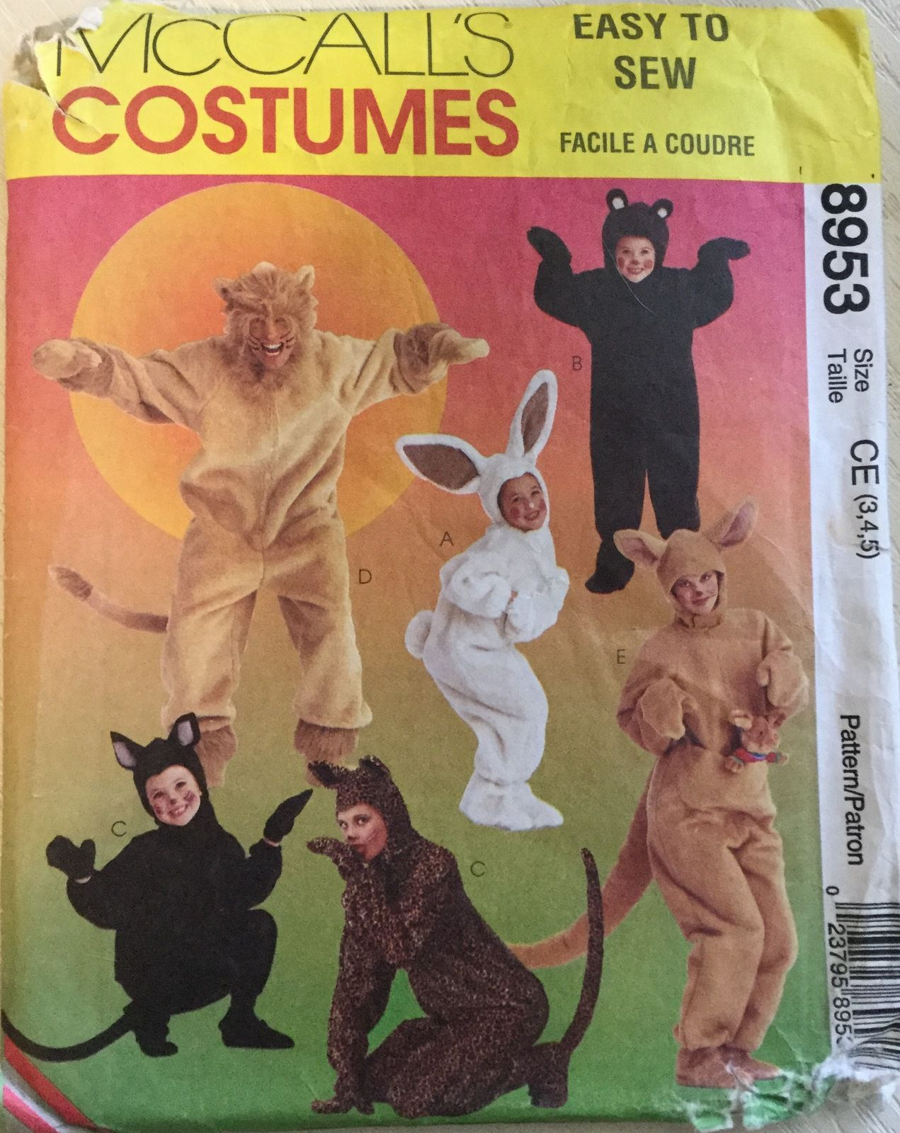 McCall\'s 8953 Children\'s Lion, Bunny, Bear, Cat & Kangaroo Costumes ...