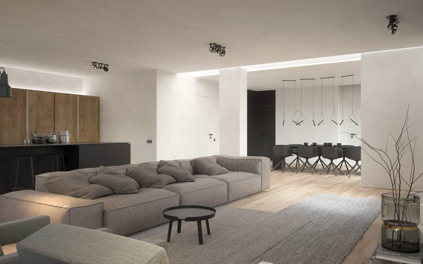 Three room apartment by kdva architects homeadore minimalist apartment interior design living room