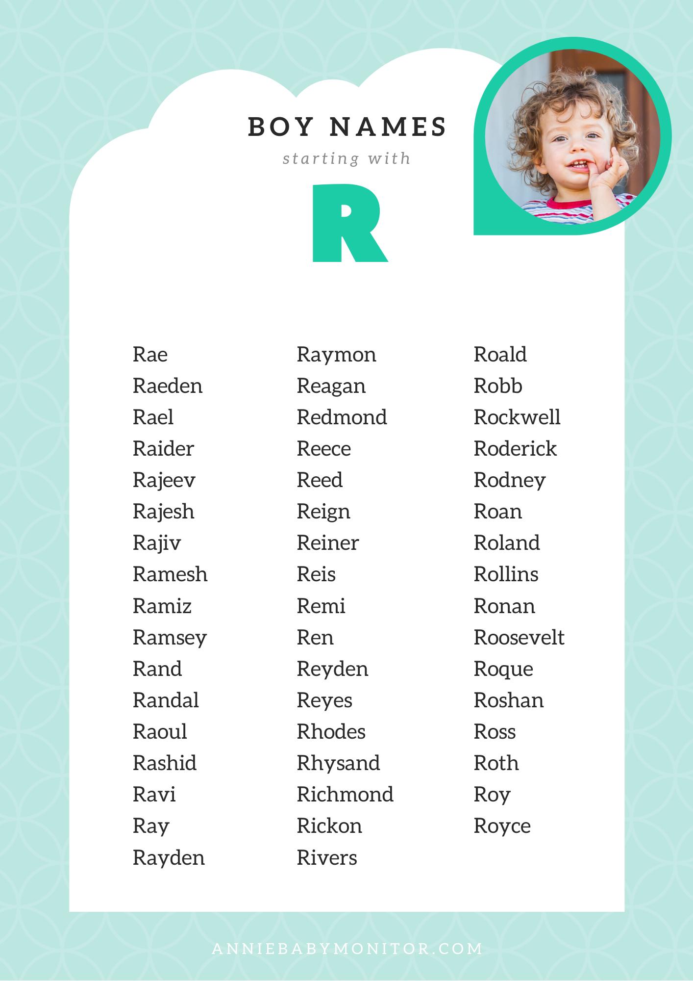 "8 UNIQUE Baby Boy Names Starting with ""R""  Boy names, Unique"