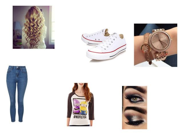 """""""Geen titel #83"""" by jolie-wensel ❤ liked on Polyvore featuring Converse, Topshop and Hybrid Tees"""