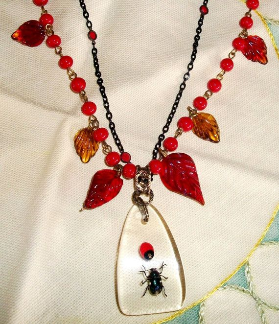 """Handmade GLASS & INSECT NECKLACE - """"Buggin' Out"""" - Newly Created w/Vintage Components, Real Bug In Lucite, Double Glass Chain Unusual"""