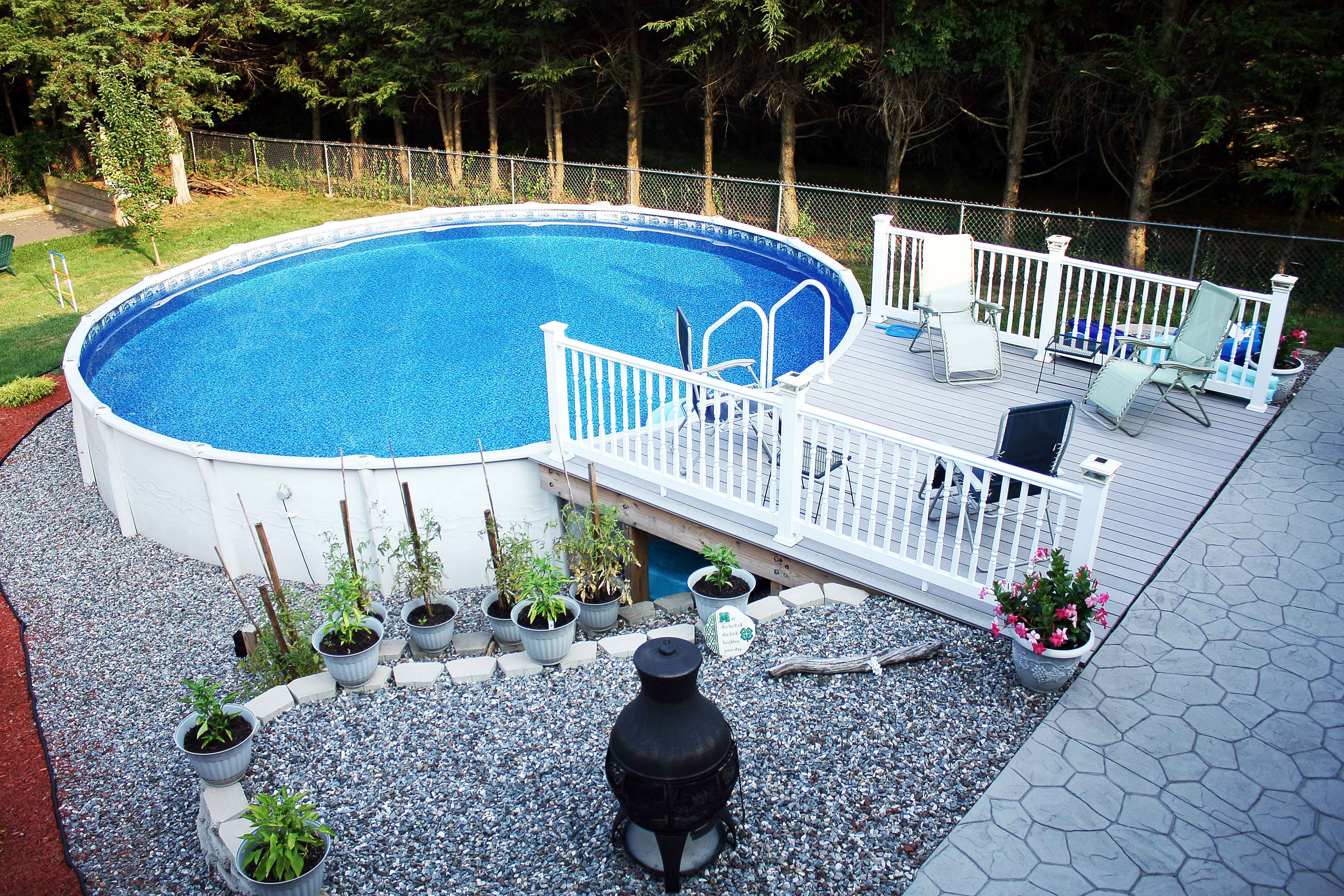 Backyard ideas with above ground pool - Admirable Pool Decks For Above Ground Pools With Outdoor Chaise Lounges Zero Gravity Chairs Also Outdoor