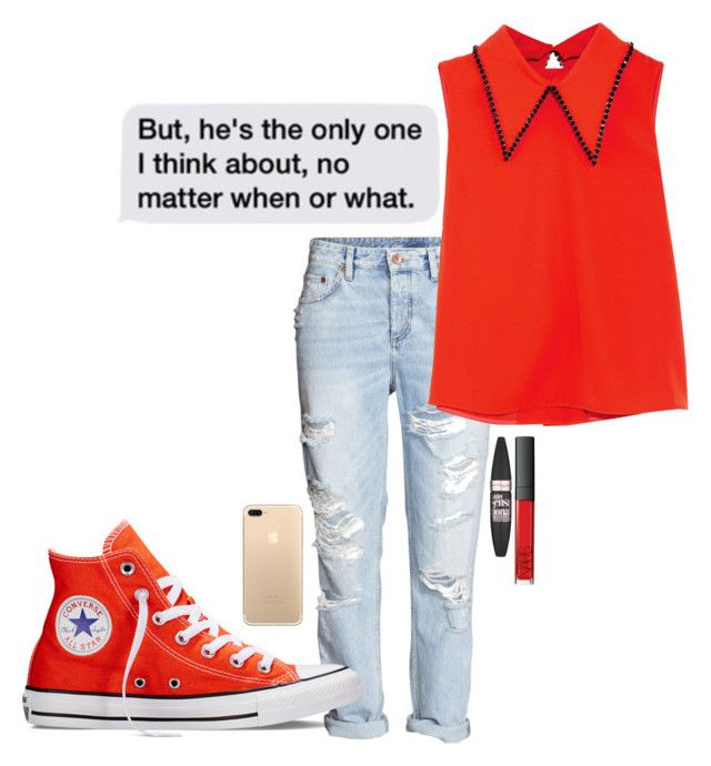 """Untitled #320"" by aysiaismej ❤ liked on Polyvore featuring Converse, McQ by Alexander McQueen and Maybelline"