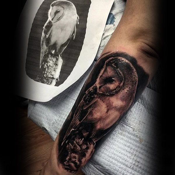60 Barn Owl Tattoo Designs For Men Lunar Creature Ink Ideas Barn Owl Tattoo Realistic Owl Tattoo Mens Owl Tattoo