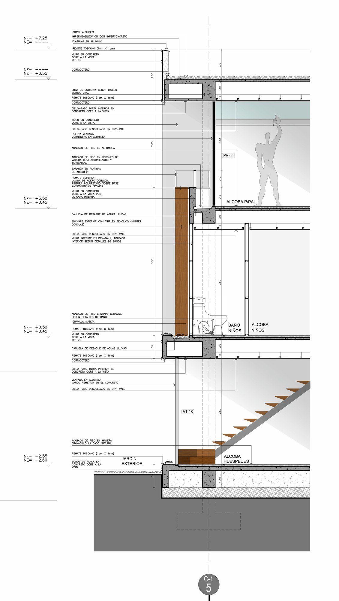 Detalle corte piso techo modulor detalles constructivos for Piso tecnico detalle