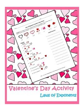 laws of exponents valentine 39 s day activity high school math ideas valentines day activities. Black Bedroom Furniture Sets. Home Design Ideas