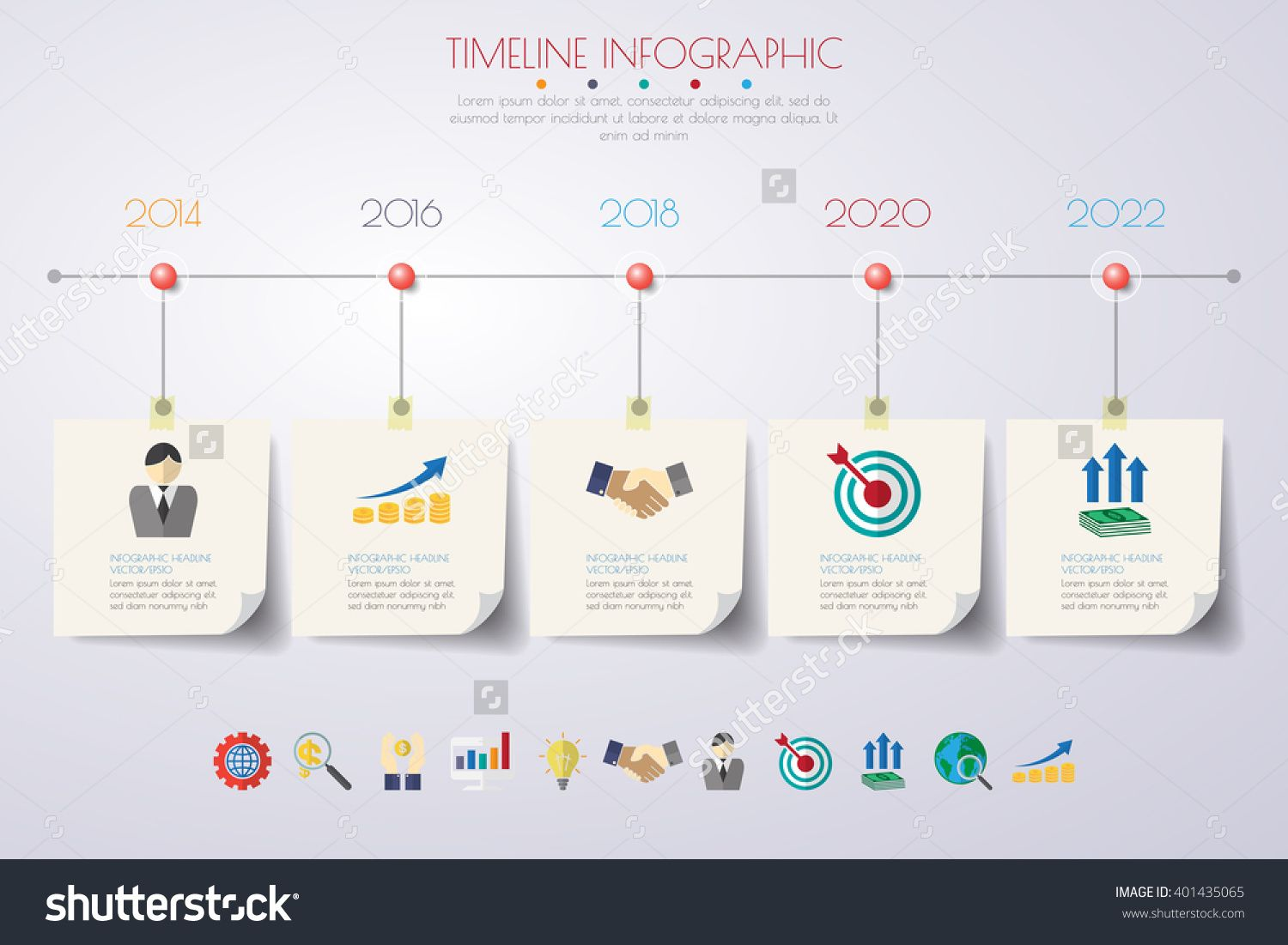 Business Concept Timeline Infograph Template Realistic Paper