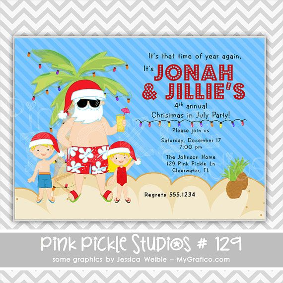 Christmas In July Party Clipart.Christmas In July Invitation Christmas In July Summer