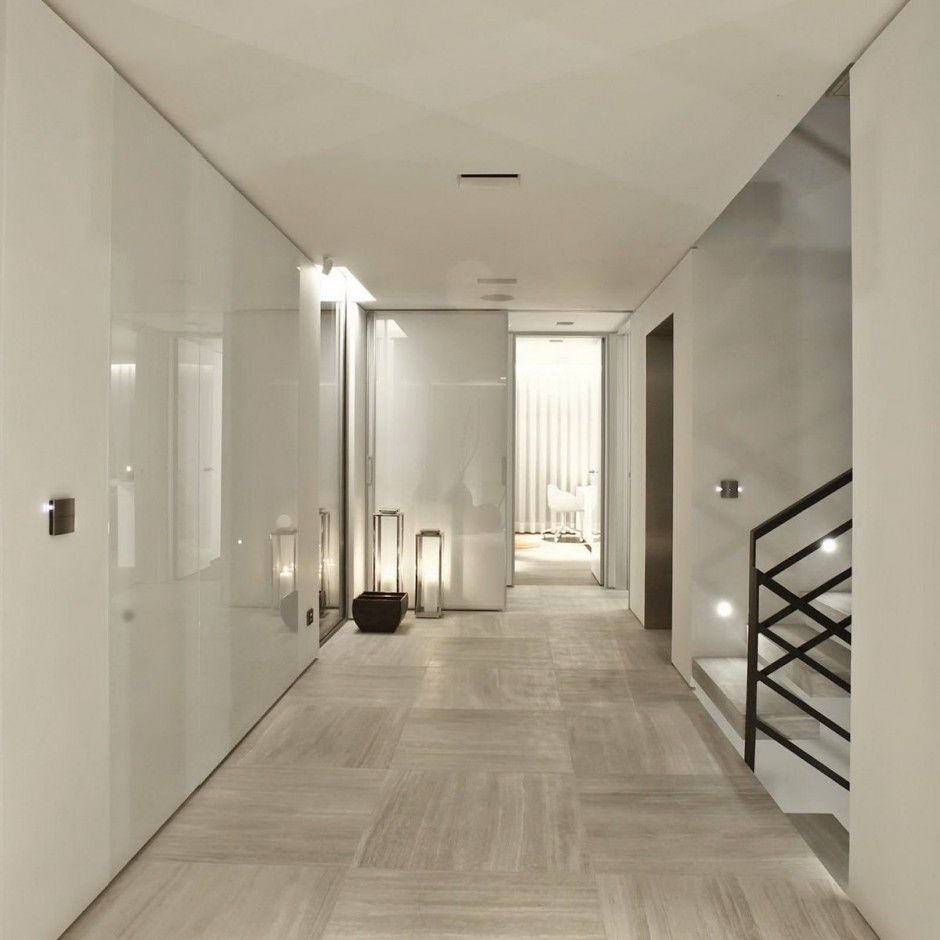 Panels Of Glass Perhaps On White Walls And Stunning Stone Floor
