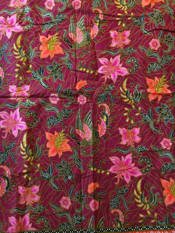 Vtg Fabric Floral Burgundy With Birds 68 Wide X 40 Tall