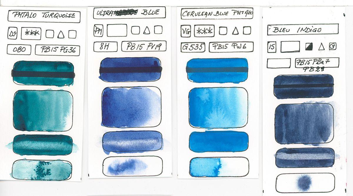Les Teintes Bleus Selon Les Pigments Pour L Aquarelle Teinte De