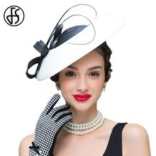 bf62c5083b1ba FS Fascinators Black And White Patchwork Pillbox Hat For Weddings Dress Women  Straw Fedora Vintage Ladies Sinamay Derby Hats(China)